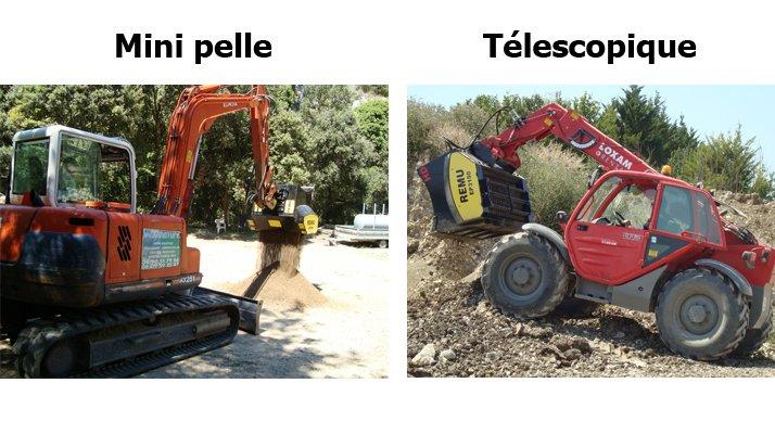 Godet cribleur broyeur REMU, mini-pelle téléscopique - RDS France, spécialiste du matériel TP