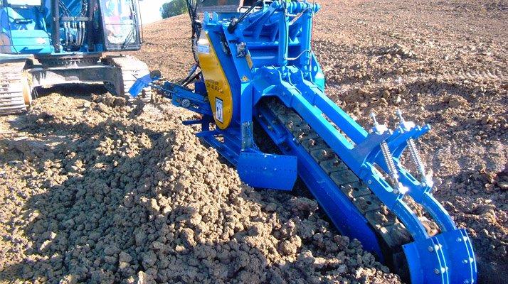 Trancheuse chaine LIBA attelée pelle hydraulique - RDS France, spécialiste du matériel TP