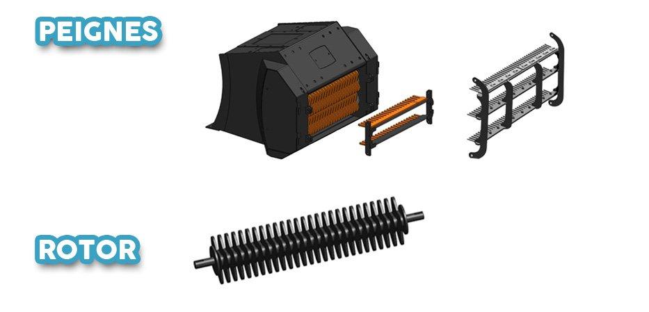 Godet cribleur peignes et rotors